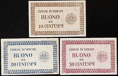 Trieste Local State currency/ ITALY 10 20 50 Centimes, 1945, 3 Pcs set (LH-NR)
