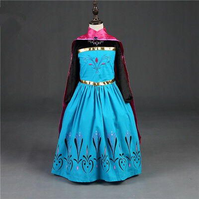 Girls Princess Queen Elsa Costume Party Birthday Dress with Cape 2-8 Yrs