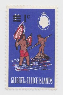 1966 Gilbert & Ellice Islands - Decimal Currency 1965 Surcharged 1/1 Cent Stamp