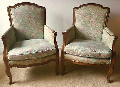 Vintage Pair French Provincial Style Bergere Chairs