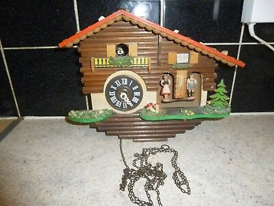Vintage Wall Cuckoo Clock Black Forest  with Weather Station