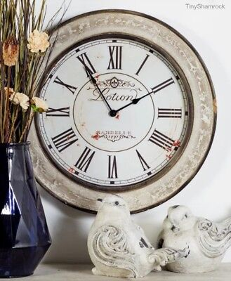 """Big Wall Clock French Vintage Style Antique Look 24"""" Large Rustic Wood Shabby"""