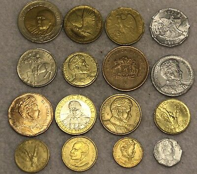 set of 16 different coins from chili
