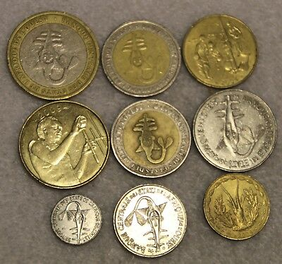 set of 9 different coins from WEST AFRICAN STATES