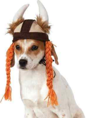 Viking Hat w/Braids Horn Helmet Dress Up Halloween Pet Dog Cat Costume Accessory