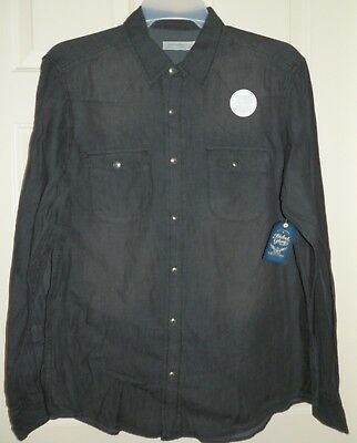 New Mens 2XL 50-52 Black Chambray Button Up Shirt Long Sleeves Faded Glory