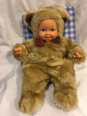 Anne Geddes Baby In Bear Suit 1997 Plush Stuffed Animal Doll New