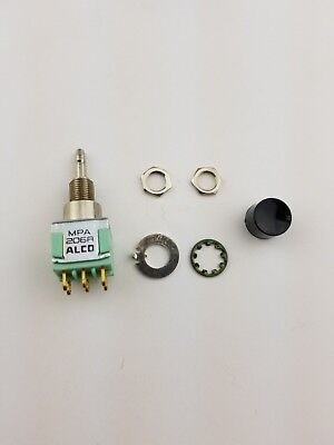New Alco MPA206R DPDT ON (ON), Panel Mount Push Button Switch 6A 125V, (NOS)