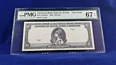 AMERICAN BANK NOTE Co. USA TEST NOTE 1929 PMG 67 SUPERB GEM EPQ <<<