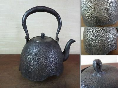 Japanese Antique KANJI old Iron Tea Kettle Tetsubin teapot Chagama 2428
