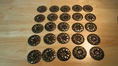 Lot of 24 Antique Brass Colored Flower Floral Back Plate