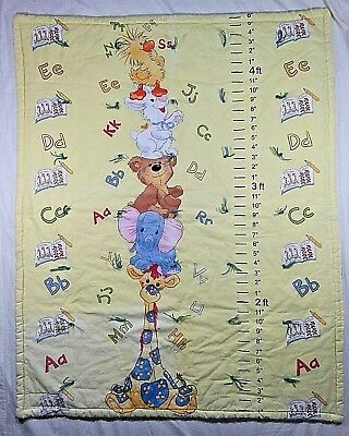 Little Suzy's Zoo Wall Hanging Height Chart Unisex Handmade Quilt Blanket *Flaw*