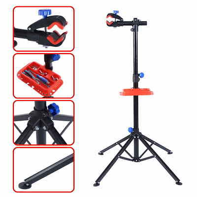 Pr Bike Adjustable Repair Stand Telescopic Arm Cycling Bicycle Rack W/ Tool Tray