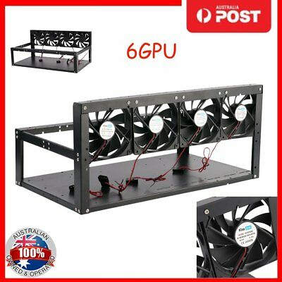 6 GPU+4 Fans Steel Coin Open Air Mining Frame Rig Case For ETH & ZEC & Bitcoin A