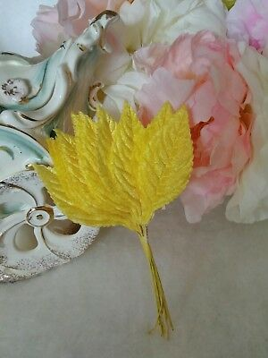 Vintage Yellow Velvet Millinery Leaves Japan Corsages Lot of 12