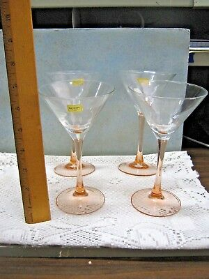 Set of 4 ROSE VERRERIE Cristallerie D'Arques LUMINARC WINE STEMGLASSES 5 1/4 oz.
