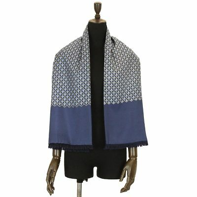 Auth HERMES Muffler Silk 100 % Blue Navy Ribbon Fringe With Tag 70165416