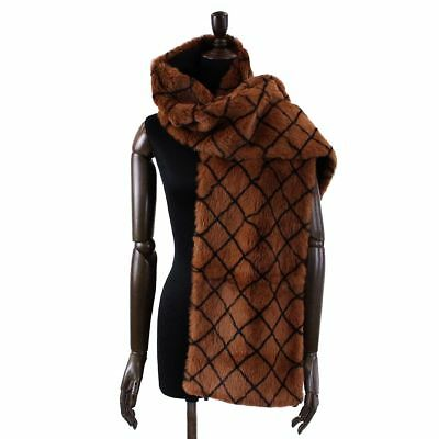 Auth CHANEL Brown Black Real Fur Muffler Stole Scarf 90038877