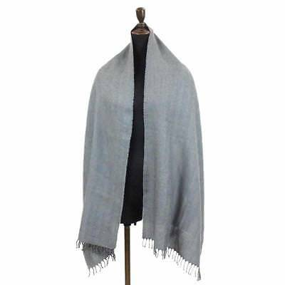 Auth HERMES Shawl Cashmere Silk Gray Accessories 90044790