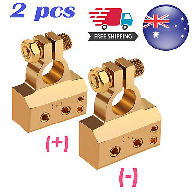 2x 4/8 Awg Gauge Car Truck Battery Terminal Positive Negative Clamp Connectors