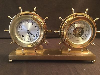 Vintage!! Brass Chelsea Ship's Bell Clock And Barometer On Brass Stand Engraved