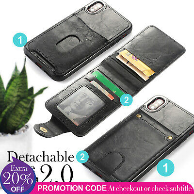 New Leather Card Holder Cover Wallet Case for iPhone 8 7 6 6S Plus X Detachable