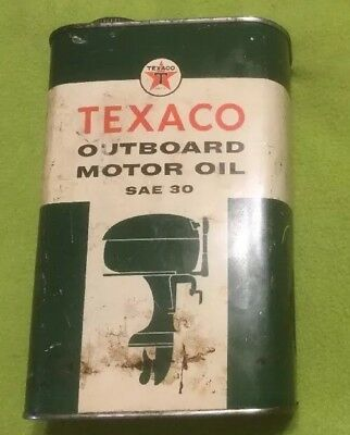 Vintage ~ Texaco ~ Outboard Motor Oil ~ 1quart Can ~ Half Full