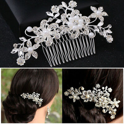Bridal Hair Comb Pearl Crystal Headpiece Wedding Hair Pins Accessories Clips