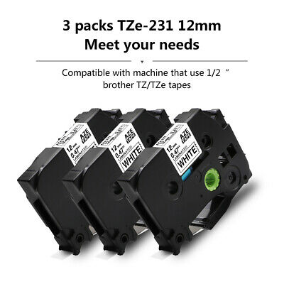 1PK Black on White Label Tape Compatible for Brother TZe 231 P-Touch 12mm