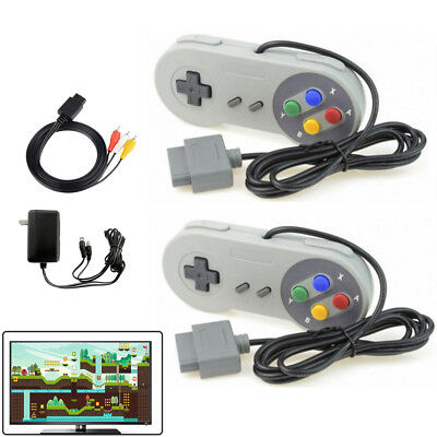 AC Adapter Power Cord AV Video Cable + 2 Controllers For Super Nintendo SNES US