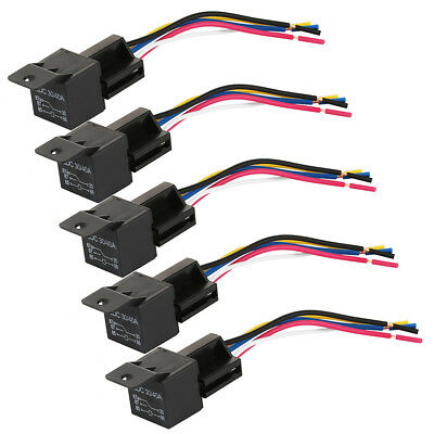 5 x 12V 40A Auto Car Truck Van Motorbike Boat 5 Pin Relay + Socket Holder NEW