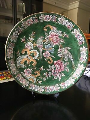 Chinese Porcelain Plate Gilt Hand Painted Birds & Flowers