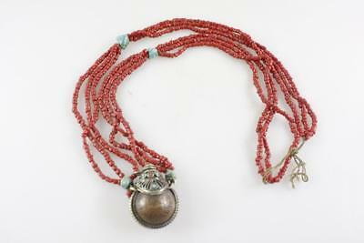 Vintage Tibetan Snuff Bottle Pendant On Beads Turquoise 西藏