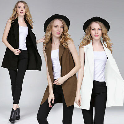 Fashion Women Sleeveless Long Waistcoat Blazer Jacket Vest Coat Tops Blouse