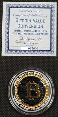 BITCOIN VALUE CONVERSION 1 oz .999 Solid Silver Proof Round Color Coin W/ COA