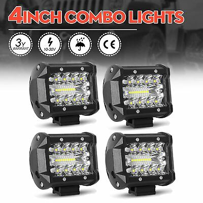 "4pcs 4"" New CREE Spot Flood LED Work Light Off Road Driving Fog Lamp Motorcycle"