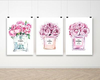 Set of 3 Coco Chanel Pink Flowers Perfume Poster Art Print A4 A3 A2 A1 A0 Framed