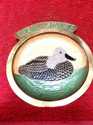 VINTAGE SOLID  BRASS  DUCK  IN  ENAMEL CENTRE  POCKET  CHANGE  TRAY 15cm.X 13cm.