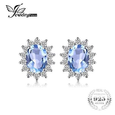 1.2ct Natural Blue Topaz Halo Stud Earrings 925 Sterling Silver Jewelry Women Fa
