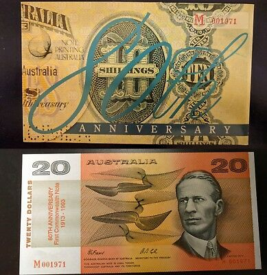 "Australia $20 ""80th Anniversary""  Australian Banknote Folder, Low Number M001596"