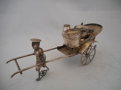 Chinese Antique White Metal Man Pulling a Rickshaw Condiment Set -Silver? Plate?
