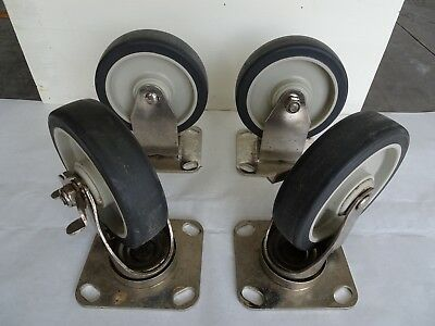 "5"" Wheel Plate Casters 2 fixed, 2 swivel with brakes."