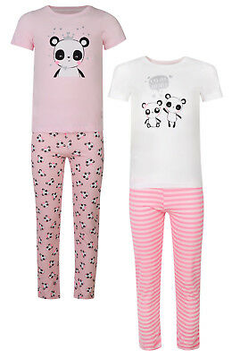 Girls Pyjamas Panda Theme Ex Uk Store Short Sleeve Long Pj Set 1-7Y New