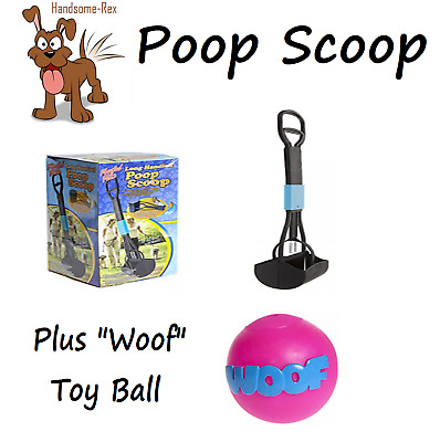 Perfect Pets Long Handle Dog Poo Poop Scoop & FREE WOOF TOY BALL