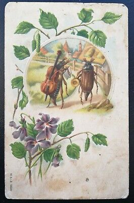 """Antique  """"Tales of insects beetles"""" Imperial Russia pre-1917 RARE postcard a2"""
