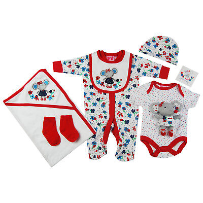 Baby Girls 7 Piece Multipack Outfit Gift Set Blanket Soft Mouse Toy in Red White
