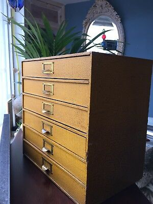Antique Vintage Faux Leather Croc Skin Specimen /Filing/ Collectors Desk Drawers