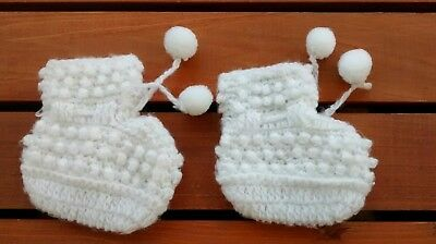 Vintage Handmade White Crocheted Booties For Baby or Doll