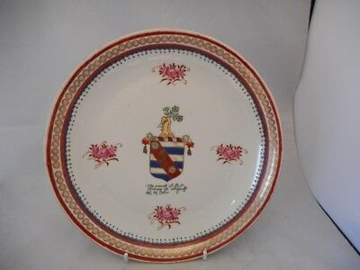 SIGNED Chinese Armorial Hand Painted Porcelain Plate - Coat of Arms