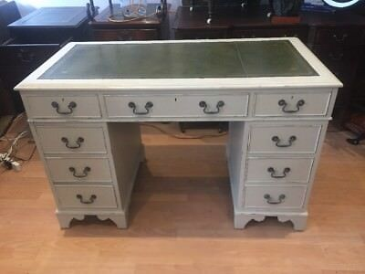 Antique Style Green Leather Top Writing Desk Shabby Chic FREE UK P&P🇬🇧